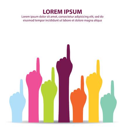 one finger: Creative Colorful Number One Finger Illustration