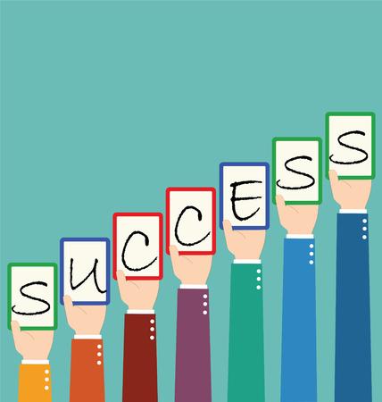 wording: Businessman Hold Success Wording Tag