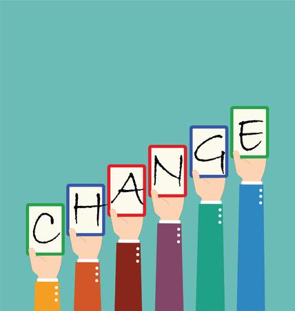 lift up: Businessman Hold Change Wording Tag Together