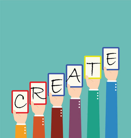inovation: Businessman Hold Create Wording Tag Together Illustration
