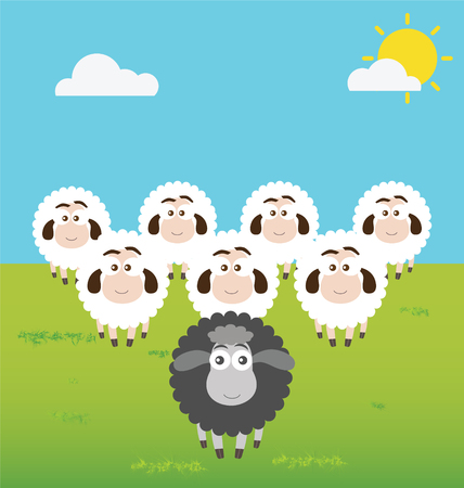 Black Sheep with Leadership Situation 矢量图像