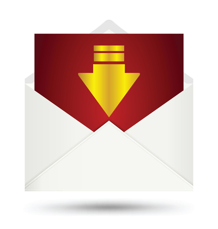 mailer: White envelope with gold arrow symbol Illustration