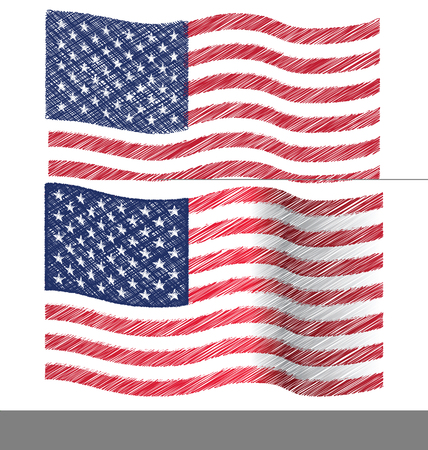united state: Waving Hand Draw Sketch Flag of United State of America