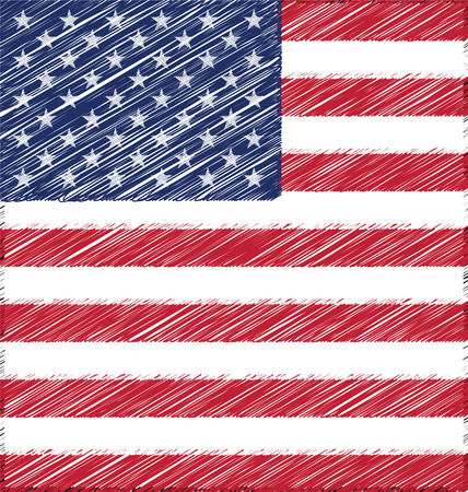 united state: Flat Hand Draw Sketch Flag of United State of America