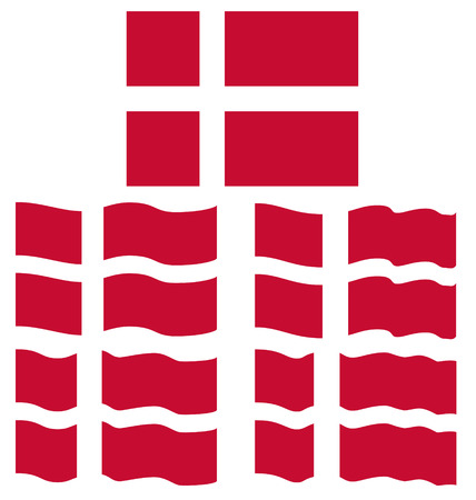 danish flag: Flat and Waving Flag of Denmark