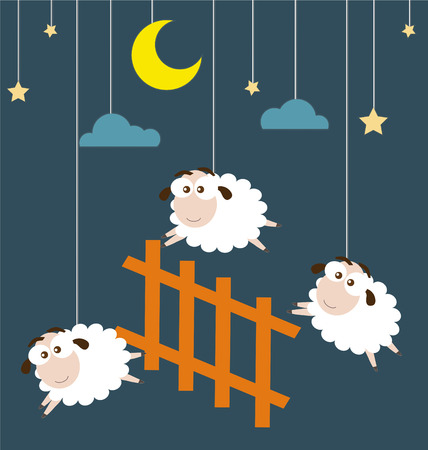 Sheep and Fence hanging on the ropes with night scene Vectores