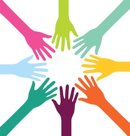 manos levantadas: Creativo colorido Trabajo en equipo Mano