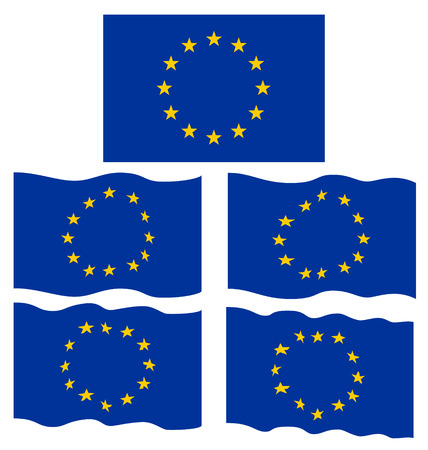 eec: Flat and Waving Flag of Europe Country Illustration