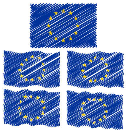 eec: Flat and Waving Hand Draw Sketch Flag of Europe Country