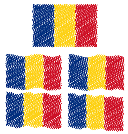 eec: Flat and Waving Hand Draw Sketch Flag of Romania Country Illustration