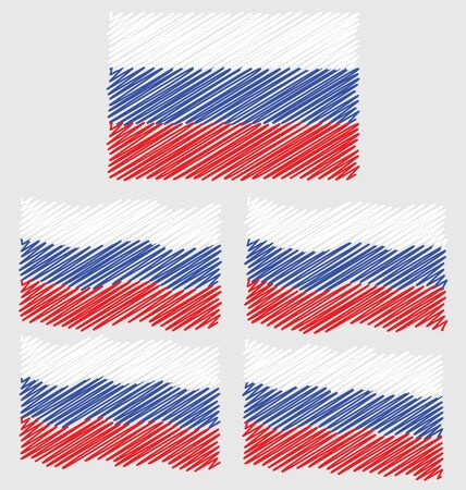 eec: Flat and Waving Hand Draw Sketch Flag of Russia Country