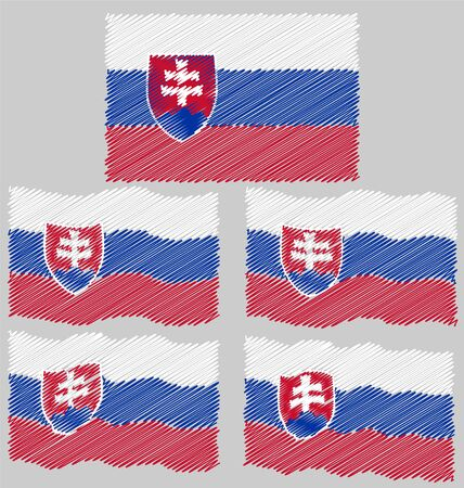 eec: Flat and Waving Hand Draw Flag of Slovakia Country Illustration