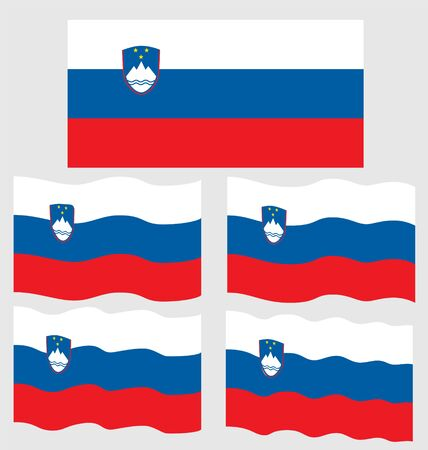 eec: Flat and Waving Flag of Slovenia Country Illustration