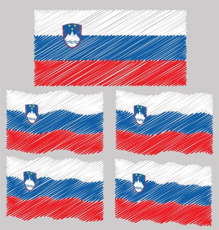 eec: Flat and Waving Hand Draw Sketch Flag Slovenia Country Illustration