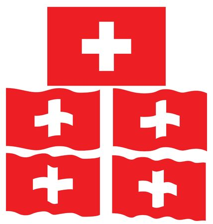 stoke: Flat and Waving Flag of Switzerland Country