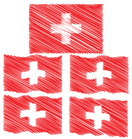 cross hatching: Flat and Waving Hand Draw Sketch Flag of Switzerland Country
