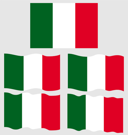 eec: Flat and Waving Flag of Italy Country Illustration