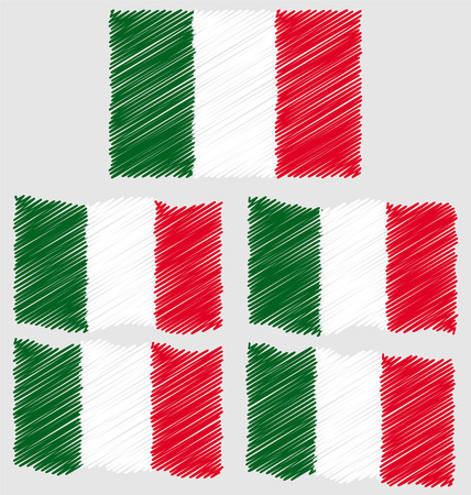 eec: Flat and Waving Hand Draw Sketch Flag of Italy Country Illustration