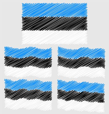 eec: Flat and Waving Hand Draw Sketch Flag of Estonia Country