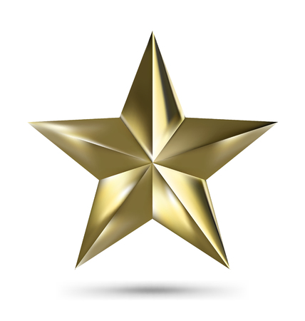 Isolated Matallic Golden Star on White background