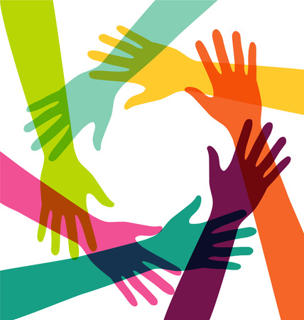 Creative Colorful Hand Connection with Teamwork