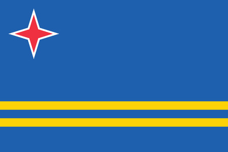 national women of color day: Standard Proportions ans Color for Aruba Official Flag Illustration