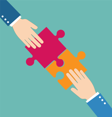 Teamwork concept, Businessman put pieces of puzzle together
