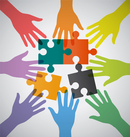 Many Teamwork People Join Colorful Hand and Sloving Problem
