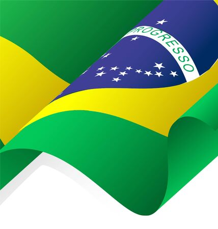 Waving Brazil Flag Vector, Clipping Mask