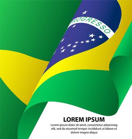 Brazil Waving Flag Background, Clipping Mask Illustration