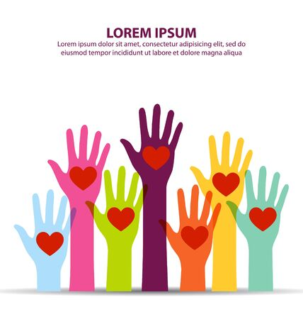 Many Colorful Hand Up With Heart At Middle Of Palm