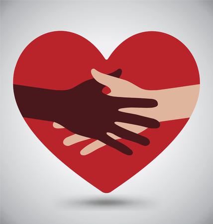 Handshake, Helping Hands On Red Heart