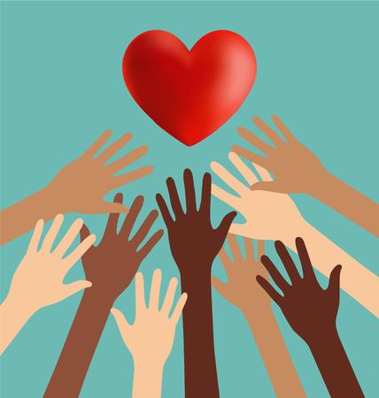 europian: Group of Diversity Hand Reaching For The Red Heart Illustration