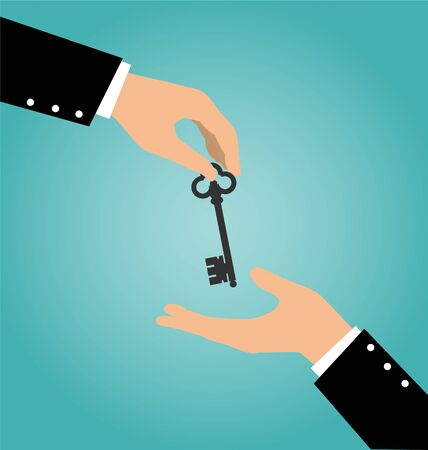 accommodation broker: Business hand giving a house key to another hand, Buy Rental and Sell Concept