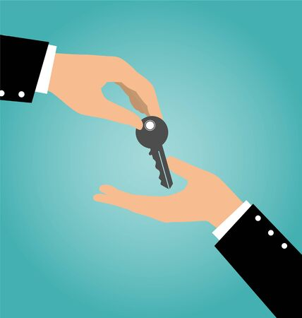 accommodation broker: Business hand giving a key to another hand, Buy Rental and Sell Concept Illustration