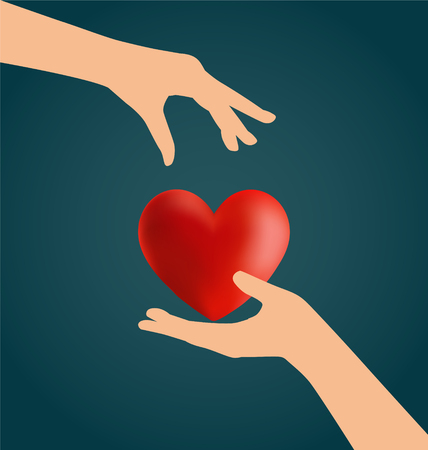 transplant: Hand Giving Heart, Love Concept