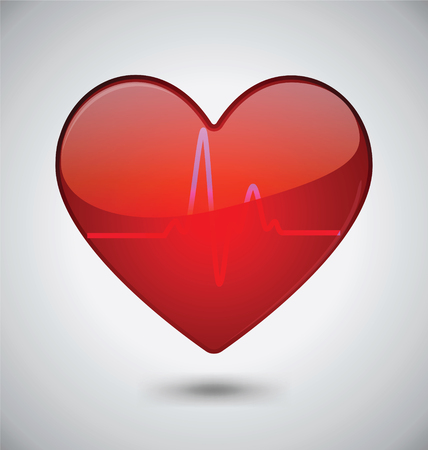 Glossy Heartbeat Vector icon Design