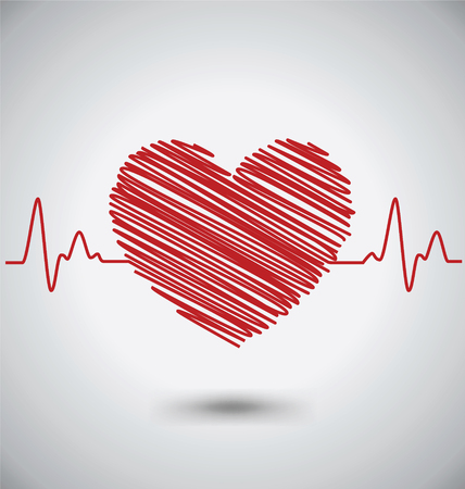 heartbeat monitor: Heartbeat With Heart Shape and EKG, Medical Concept Illustration