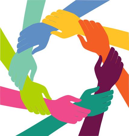 terra arrendada: Anel das mãos Conceito colorido criativo dos trabalhos de equipa
