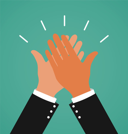 high five: Two Business Hands Giving A High Five For Success Job, Congratulating and Celebration Concept Illustration