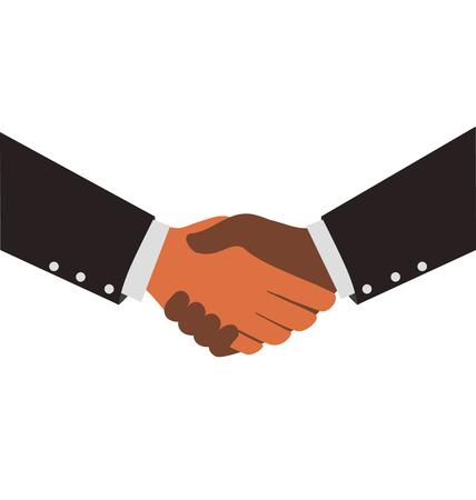 la union hace la fuerza: Two Diversity Businessmen Shaking Hands Vectores