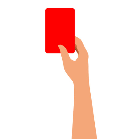 admonition: Hand Holding A Red Card Isolated On White Background