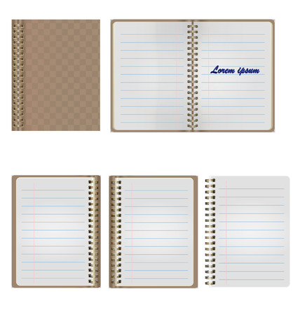 Set of Blank Realistic Spiral Notepad Notebook Isolated On White Background Illustration