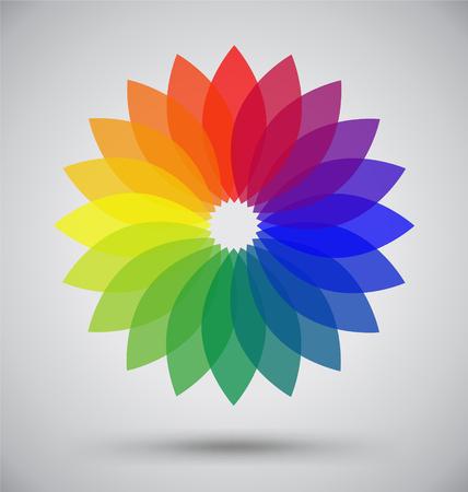 petal: Abstract Colorful Spectrum Flower Petal, Logo Vector Design