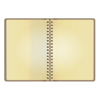 open notebook: Blank Realistic Vintage Open Notebook Isolated On White Background Illustration