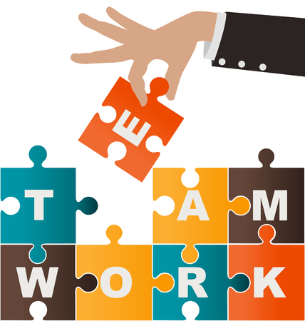assembling: Businesswoman assembling puzzle with teamwork, solution and success concept