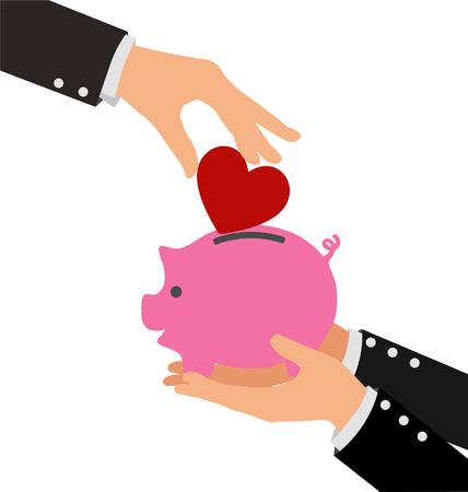 Business-Hand Putting rotes Herz in ein Sparschwein Vektorgrafik