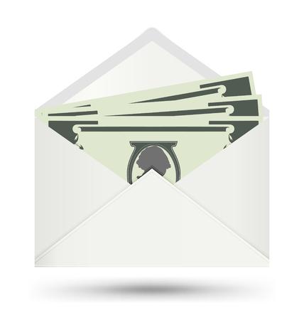Dollar In White Envelope, Send Money, Vector icon