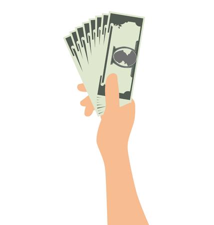 Hand Holding Money Isolated On White Background Illustration