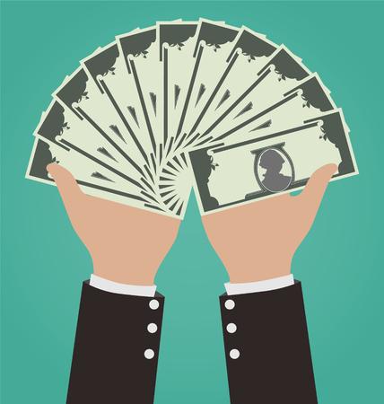 Businessman Hands Giving Money, Financial Concept